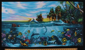 24.5' X 44' Panel Paradise Found Tropical Fish Dolphins Birds Ocean Water Sea Animals Coral Reef Palm Trees Island Scenic Cotton Fabric Panel (6106BLACK)