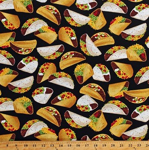 Cotton Tacos Mexican Food on Black Cotton Fabric Print by the Yard (GM-C6957-BLACK)