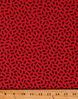 Cotton Ants Insects on Red Bugs Galore! Kids Cotton Fabric Print by the Yard (9630-88)