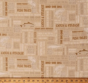 Cotton Fishing Phrases Sayings Quotes Fish Fisherman Word Collage on Natural Old Guys Rule Cotton Fabric Print by the Yard (AOD-16700-14NATURAL)