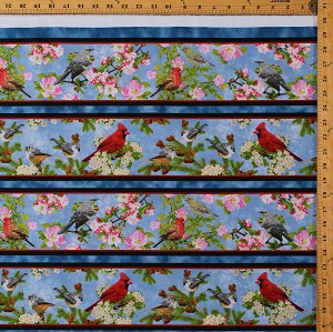 Cotton Birds Songs of Nature Cardinal Nuthatch Finch Flowers Apple Blossoms Spring (8 Parallel Stripes) Blue Cotton Fabric Print by the Yard (1649-26365-B)