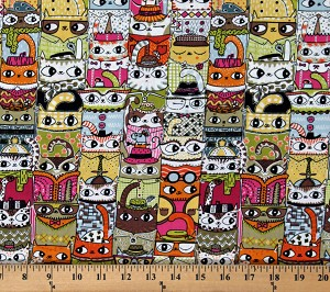Cotton Cats Kitties Kittens in Hats Cute Funny Animals Jive Cats Cotton Fabric Print by the Yard (4801-23)