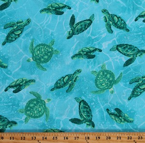 Cotton Sea Turtles Ocean Nautical Blue Cotton Fabric Print by the Yard (OCEAN-C8030-BLUE)
