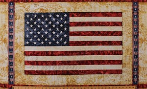 "24"" X 44"" Panel American Flag United States USA Bald Eagle Patriotic Stars and Stripes Fourth of July Independence Day Home of the Brave Cotton Fabric Panel (1649-24805-A)"