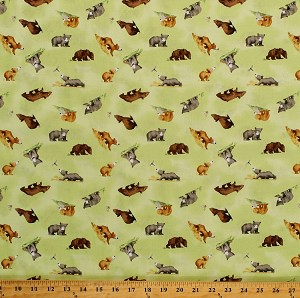 Cotton Bears Cute Baby Bears Cubs Animals You're All My Favorites Kids Children's Book Lime Green Cotton Fabric Print by the Yard (Y2458-18LIME)