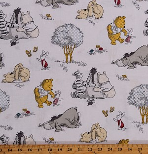 Cotton Pooh Bear Winnie the Pooh Piglet Tigger Eeyore Hundred Acre Wood Kids A Togetherish Sort of Day Cotton Fabric Print by the Yard (65154-A620715)
