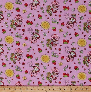 Cotton Strawberry Shortcake Character Girls Strawberries Flowers on Pink Custard the Cat Floral Pink Kids Cotton Fabric Print by the Yard (2070-22617)
