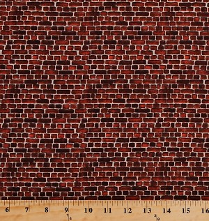 Cotton Bricks Brick Wall Pavement Stones Blocks Landscape Building Masonry Stonework Rust Red Cotton Fabric Print by the Yard (4507-701)