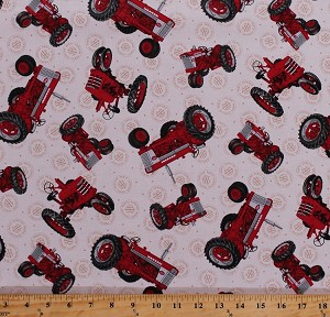 Cotton Farmall Tractors Tractor International Harvesters Farmers Farmall Show Country Cream Cotton Fabric Print by the Yard (1649-26452-E)