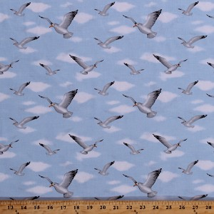 Cotton Seagulls Gulls Birds Seabirds Beach Ocean Summer Vacation Blue Sky Wade & Sea Cotton Fabric Print by the Yard (9533-70)