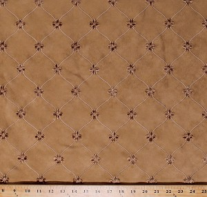 "54"" Faux Suede Tan Embroidered Raised Flowers Tone-on-Tone Narrow Satin Stitched Ornamental Design Muslin Backed Decorator Weight Fabric by the Yard (emani-antelope)"