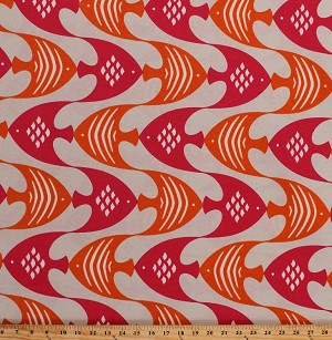 "54"" Indoor/Outdoor Tropical Fish Wavy Ocean Current Tiger Lily Pink Orange on Beige Home Decor Decorator Upholstery Weight Fabric by the Yard (8209O-1M-tigerlily)"