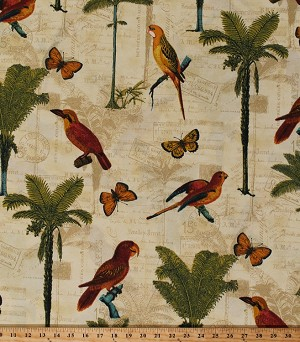 "54"" Tommy Bahama® Hearts of Pal in Toffee Parrots Birds Butterflies Ferns Postcards Antique-Look Parchment Tropical Indoor/Outdoor Water/Stain Repellent Fabric by the Yard (801391)"