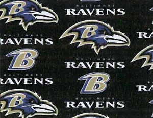 Cotton Baltimore Ravens NFL Pro Football Cotton Fabric Print by the Yard