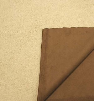Faux Shearling / Synthetic Suede Reversible! Fabric - Camel/Brown