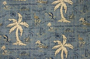 "54"" Tommy Bahama® Island Song Ocean Palm Trees Islands Sailboats Ocean Map Nautical Tropical Deep Sea Blue Natural Indoor-Outdoor Fabric by the Yard (800012)"