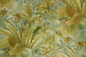 "54"" Tommy Bahama® Bahamian Breeze in Surf Tossed Palm Fronds Large-Scale Leaves on Aqua Jungle Tropical Lanai Botanical Indoor/Outdoor Water/Stain Repellent Fabric by the Yard (800051)"