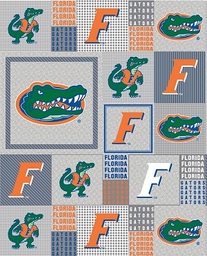 University of Florida™ Gators™ Gray Patchwork College Fleece Fabric Print
