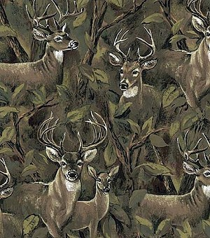 Fleece (not for masks) Deer in the Forest (Bucks Doe) Animal Print Fleece Fabric Print by the Yard a24524b