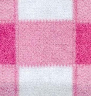 Plaid Pink Boxes Check Checkers Fleece Fabric Print by the Yard o1400-2b