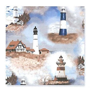 Lighthouses Fleece Fabric Print (o31773b)
