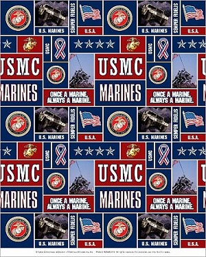 Fleece (not for masks) United States of America Marines Fleece Fabric Print by the Yard omarines012s