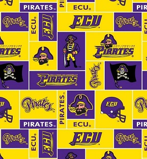 Fleece (not for masks) East Carolina University Pirates College Fleece Fabric Print by the yard