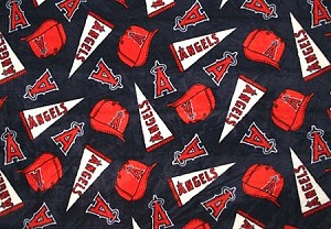 Fleece (not for masks) Los Angeles Angels of Anaheim MLB Baseball Fleece Fabric Print by the yard