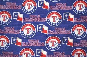 Texas Rangers MLB Baseball Fleece Fabric Print