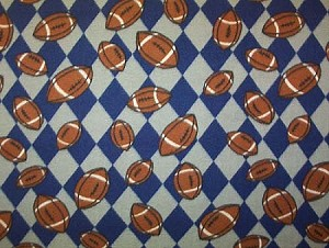 Fleece (not for masks) Footballs Blue/Silver Grey Gray Check Argyle Sports Fleece Fabric Print by the Yard (sjbmfp301-01h)