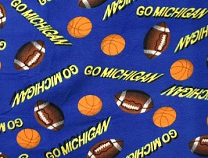 "Fleece ""Go Michigan"" Football Basketball College University Fleece Fabric Print By the Yard (smfp715t)"