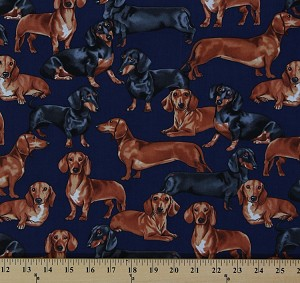 Cotton Dachshunds Dogs Puppies Puppy Toss Animal Navy Cotton Fabric Print by the Yard (gm-3190)
