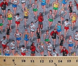 Cotton Runners Running People Active Sport Grey Cotton Fabric Print by the Yard (gm-c2889)