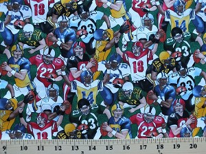 Cotton Football Players Footballs Green Cotton Fabric Print by the Yard (gm-c5646)