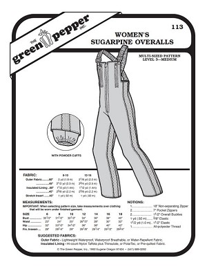 Women's Overalls Pants Coveralls Ski Snowpants #113 Sewing Pattern (Pattern Only)
