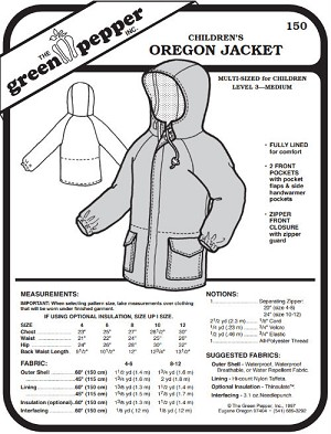 Children's Kids Oregon Jacket Coat #150 Sewing Pattern (Pattern Only)