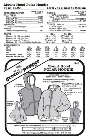Adult Mount Hood Polar Hoodie Vest Jacket Coat #543 Sewing Pattern (Pattern Only)