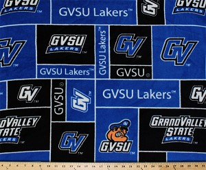 FLEECE Grand Valley State University Lakers GVSU College Fleece Fabric Print by the yard - Royal Blue
