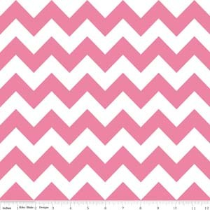 Cotton Chevron Zigzag Hot Pink White Striped Cotton Fabric Print by the Yard (C320-70)