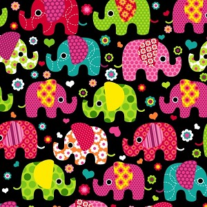 Fleece (not for masks) Colorful Elephants on Black Fleece Fabric Print by the Yard k36672xb