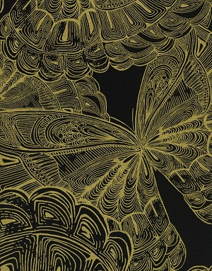 Cotton Large Butterflies Butterfly Insects Metallic Golden Black Cotton Fabric Print By the Yard (LUX-cm9689)