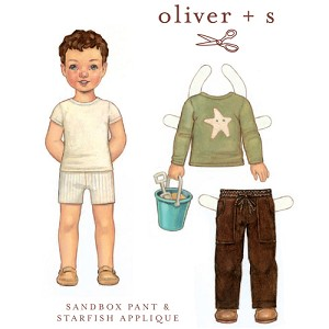 Sewing Pattern - Sizes 4-8 Sandbox Pants Trousers & Starfish Stencil Kids Children's Clothing Pattern by Oliver + S  (OS005SP2)