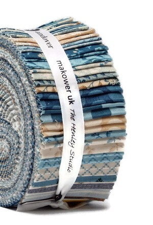 "Jelly Roll - Something Blue by Edyta Sitar of Laundry Basket Quilts 2.5"" Strips Roll-Ups Fabric Bundle Quilter's Cotton Precuts (2S-SOMEBLUE-X) M208.30"