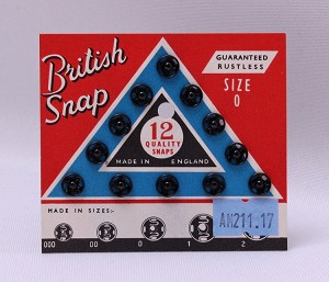 12 Count British Snaps - Black Size 0 Rustless Quality Snaps Antique Vintage Garment Fasteners (M211.17)