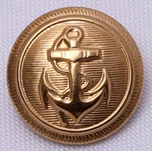 "12 Count Buttons -  7/8"" Nautical Anchor Brass Color Shank Buttons Sold by the Dozen (M211.19)"