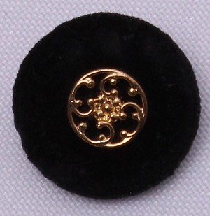 "100 Count Buttons -  7/8"" Vintage Black Velour Shank Buttons with Gold Metal-Look Decorative Center (M211.27-100ct)"