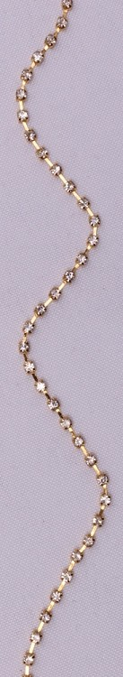 "1/16"" Wide Faux Rhinestone Chain - Single Row of Faux Rhinestones on Gold Metal Banding Decorative Trim Trimming By the Yard (12457-01/101)"