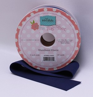 "2"" Waistband Elastic - Navy Blue Riley Blake Sew Together Stretch Elastic by the Yard - Navy M217.01"