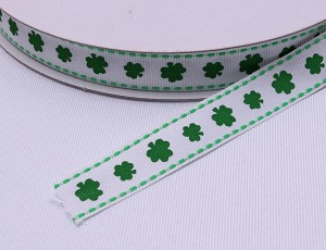"Shamrock Grosgrain Ribbon - 5/8"" inch wide Four Leafed Clover Leaves Plants Green White Woven Trim Trimming Ribbons By the Yard M217.02"