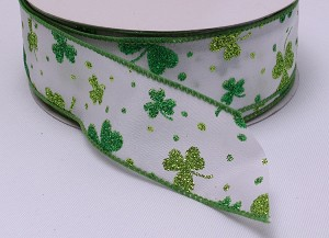"Glitter Ribbon - Shamrock Wire Edge - 1.5"" inch wide Wired Four Leafed Clover Leaves Plants Green White Trim Trimming Ribbons By the Yard M217.05"